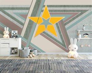 Custom 3d Geometric Wallpaper Simple Modern Geometric Cartoon Children's Room Premium Atmospheric Interior Decoration Wallpaper