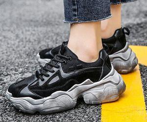 Top 2019 cuir pour femmes sport semelle de chaussures de sport épais rehaussement chaussures en cuir à la mode décontractée fille dames chaussures de course bottes formelles