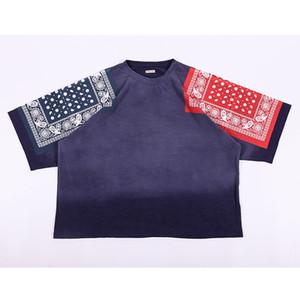 Streetwear Hip-Hop Негабаритного KAPITAL футболка лето Цветочных печати Vintage Tee Tops падение Плечо Дизайн KAPITAL тенниска