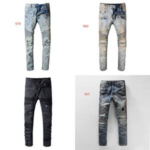 22 Designs Jeans Pantalons Vêtements Off Route Black Panther Soldier Hommes Slim Denim droite Biker trou Hip Hop Jeans Hommes