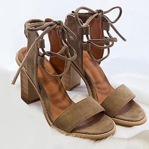 Hot sandálias salto Sale-Mulheres Bloco Bombas Lace Up Chunky sandálias de salto grosso Mulher Verão Sapatos Slippers