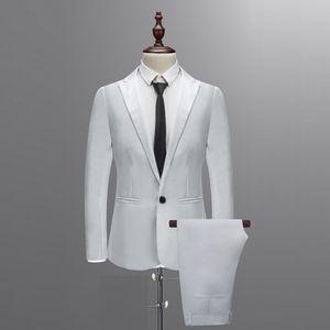 Hommes d'affaires gilet 2019 New Arrvial Printemps Automne Costume Hommes Avec Pantalon Pour Mariage Slim Bouton Costume Couleur Pure Robe BlazerT1