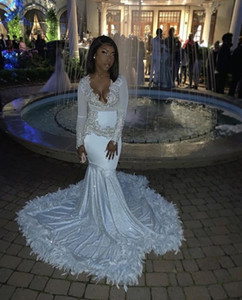 Sexy White With Sliver Applique Mermaid Prom Dresses New V Neck Lace Applique Feather Long Sleeve Formal Evening Dress Party Gowns