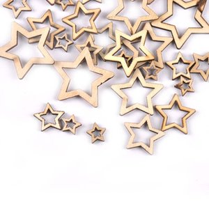 New Mixed 50pcs Hollowed Stars Wooden Crafts For Arts Scrapbooking Embellishments Wedding DIY Wood Slices Home Decoration M1872