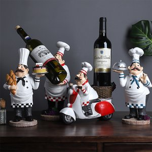 Baking Decoration European Wine Rack Restaurant Chef Small Ornaments Home Living Room Wine Cabinet Shop Window Resin Display
