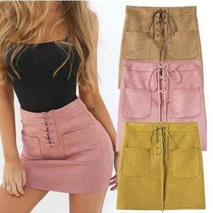 Trendy2019 Cintura para viento fuerte Color sólido Imitar cuero Doble bolsillo Bind Rope Package Falda de cadera