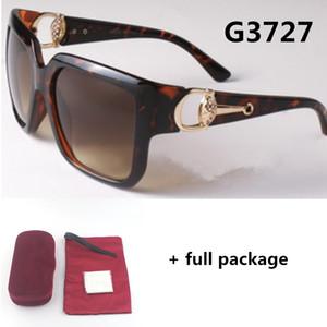 Big Frame Marca Original Sunglasses 3727 Designer Hollow Ferradura Ferradura Quadrado Quadro Óculos Homens Mulheres UV400 Lentes Retro Eyewear