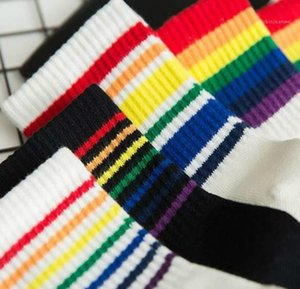 Teenager Girls Socks Sports Chaussettes Women Socks Womens Designer Midcalf Length Calcetines Rainbow Colors Preppy Style