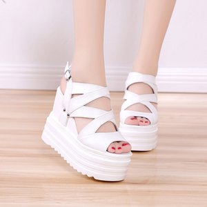 High Heels Gladiator Sandals Women Platform Shoes 2019 Summer Fashion Leather Wedges Female Sandal Chunky Sandals For Woman Shoe Y200702