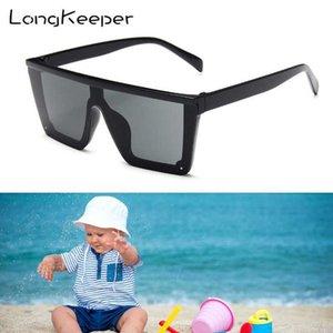 LongKeeper Oversize Square Kids Sunglasses Boys Girls Anti-UV Punk Sun Glasses UV400 Children Rimless Mirror Oculos de sol