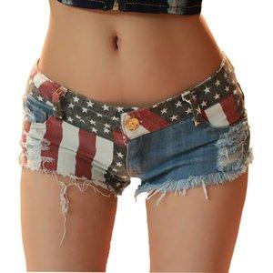 2019 Frauen Shorts Jeans Marken-Sommer-Mini Shorts Sexy USA Flaggen-Druck Loch zerstört Booty Denim Short Feminino mujer plus