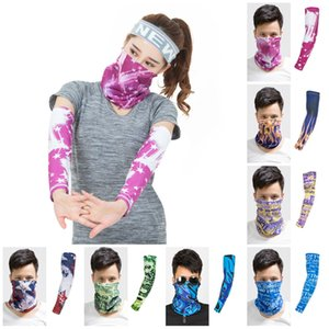 new Ice sleeve summer ice silk sunscreen sleeve + face mask combination anti-ultraviolet quick-drying outdoor equipment T2I5953