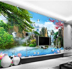 современной гостиной обои пейзаж картина стены Китайский пейзаж живопись ТВ настенной живописи