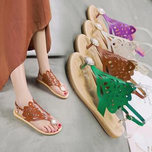 Привлекательные2019 щепотка сезонные Xia Pingdi лаконичные повседневные туфли на плоской подошве сандалии женщина горный хрусталь All-матч Toe