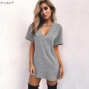 Summer Women Tshirt Mini Dress Choker V Neck Dresses Short Sleeve Casual Sexy Halter Boho Beach Dress Vestidos Mini Size