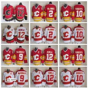 Homens 12 Jarro Iginla Jersey Calgary Chamas Gelo Hóquei 2 Al Macinnis 9 Lanny McDonald 10 Gary Roberts Jerseys Costura Vermelho Branco