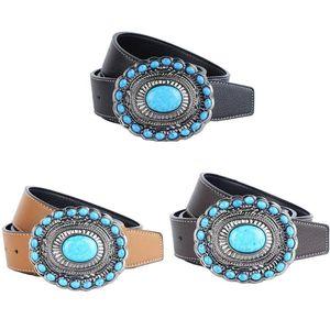 Fashion Mens PU Leather Belt Western Cowboy Hip Hop Blue Gem Waist Jeans Belts