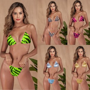 Damen Sexy Bikini Suits 9-Farben-Frauen-Badeanzug Bikini-Badebekleidung brasilianische Beach Zebra-Muster unsichtbare Schultergurt-Badeanzug 060331