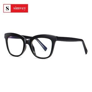 Simvey 2020 Fashion Light Blue blocco Occhiali Womens Grande Struttura Strain Cat Eye Glasses Computer Anti Radiation Eye