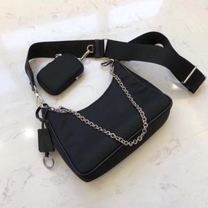 Al por mayor nueva bolsa de damas axila de tres piezas de la marea impermeable bolsa de mensajero de hombro femenino del bolso del hombro de nylon sencilla de media luna