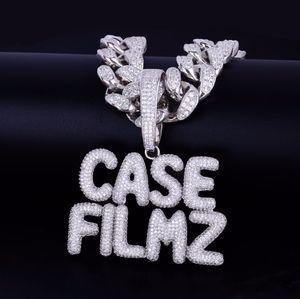 Con 20 millimetri catena cubana nome personalizzato piccola bolla lettere collana pendente a catena per gli uomini gioielli Zircon Hip Hop