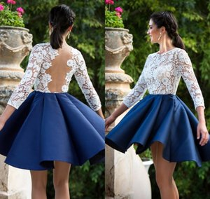 White Top Royal Blue Skirt Homecoming Dresses 2020 Sheer Long Sleeve Short Prom Gowns Plus Size Cocktail Dress Country Bridesmaid Dress