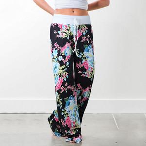 Kadın Rahat Rahat Lounge Pantolon Çiçek Baskı İpli Palazzo Geniş Bacak Pijama Pantolon 9 Stiller Sectet Boyut (S-3XL)
