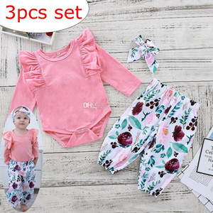 INS kids Pink fly sleeved rompers & baby floral full print pp pants & cotton bow headband 3pc set 0-2year free ship