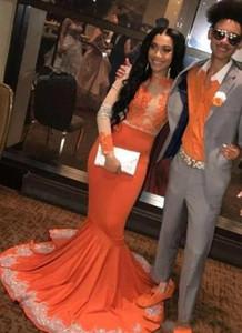 Sexy Sirena Black Girls Prom Dresses 2020 Sheer manica lunga a maniche lunghe ricamata gioiello elegante formale abito da partito lungo partito abiti da sera vestidos de