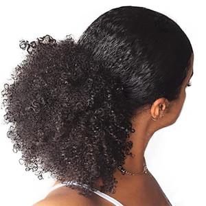 Afro Kinky завитые Ponytails с зажимом в области дизайна моды выдвижения волос черного цвета Pigtail пуфы Шиньон кулиской Fake-волосы-1