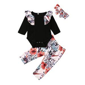 0-24M Criança Baby Girl Kid Fly-Sleeve Tops Roupa Romper Flower Calças com alça