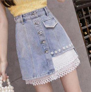 2020 summer Mesh stitching Denim Skirts for women High waist beading vintage Harajuku style Jeans skirt woman p1488