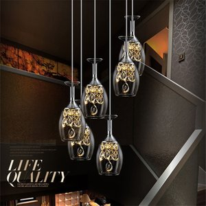 Nordic minimalist glass crystal post-modern staircase led chandelier creative attic personality multi-head combination restaurant lamps