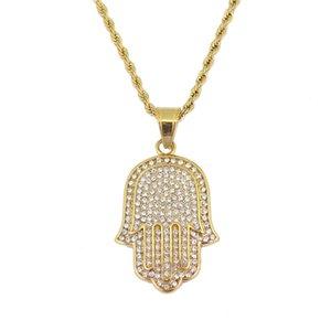 Hip hop Hamsa diamantes pingente colares para homens mulheres Mão de Fátima Amuleto Étnica luxo colar Aço inoxidável cubano cadeias de jóias