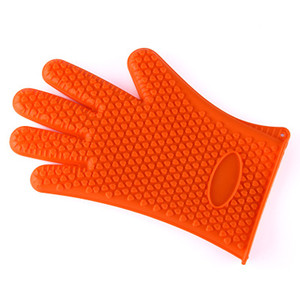 Thick 9 Color Silicone BBQ Gloves Anti Slip Heat Resistant Microwave Oven Pot Baking Cooking Kitchen Tool Five Fingers Gloves Fashion