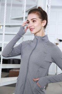 LU-26 collo alto cerniera Top Donna Shirt Giacca Donne giacca sportiva casuale a maniche lunghe Yoga rivestimento sottile elastico Yoga