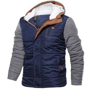 Mens Winter Warm Fur Fleece Jacket Plus Size Thicken Cotton-Padded Parka Men Hooded Windbreaker Army Jacket 7.29