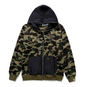 가을 겨울 새로운 남성 캐주얼 그린 카모 플러스 벨벳 후드 스웨터 재킷 남자의 블랙 패킷 전체 지퍼 카디건 힙합 후드