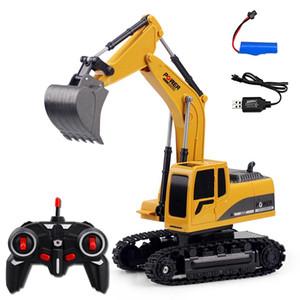 2.4GHz 6 Canal 1:24 RC Escavadeira Brinquedo RC RC Liga de carro de engenharia e máquina escavadora plástica RTR para crianças Presente de Natal