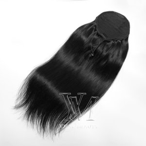 """VMAE #1 Jet Blck 140g 14"""" to 26"""" horsetail tight hole Ponytail Brazilian Indian Human Hair Extensions"""