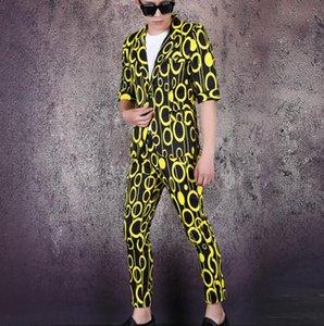 los hombres de la chaqueta con pantalones juego determinado de trajes para hombre cantante de manga corta ropa de la etapa visión circular vestido formal B617 primavera verano