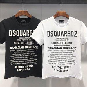2020 primavera e no verão nova alta qualidade do algodão t-shirt impressão colar painel rodada de manga curta dos homens brancos pretos T-shirt C11