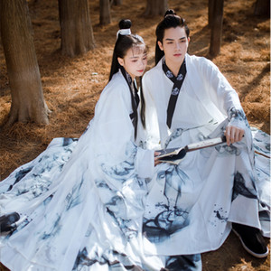 Tradizionale Bianco Hanfu per gli uomini / donne di inchiostro Stampa cinese Ballo di piega antica dinastia Abbigliamento Coppia Fata Hanfu Dress BL4035