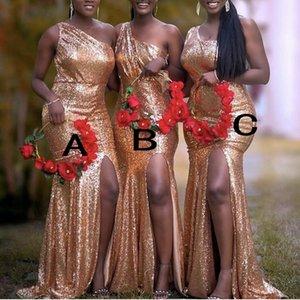 Lentejuelas de oro rosa de vestidos de dama mixtos fiesta de la boda por encargo del vestido de la Orden de visitantes diferentes escote junior dama de honor vestido barato