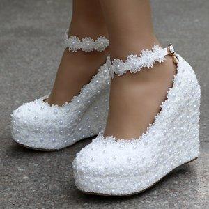 2020 New White Wedges Wedding Pumps Sweet White Flower Lace Pearl Platform Pump Shoes Bride Dress High Heels Y200702