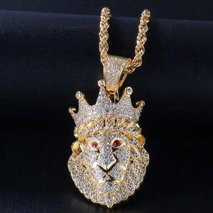 James 'Style Hip Hop Sales Sales Animal Lion Head Colliers Pendentif Or Argent Couleur Bling Cubic Zircon Hôtel Hip Hop Collier Bijoux Rock