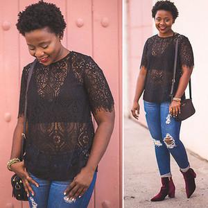 Mode féminine été Leotard Top à manches courtes Hauts Sheer dames Chemises Casual Blouse