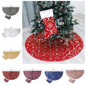 Рождественская елка юбки украшения с елки чулок для Merry Christmas Party Xmas Tree Skirt Украшение товары 2pcs / серия FFA3223