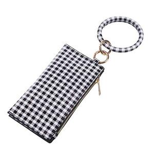 Buffalo Plaid Bangle Bracelet porte-clés Porte-clés Porte-monnaie Pour Femme ronde Bracelet Porte-clés filles bourse OOA7367