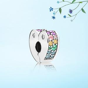 Nouvelle arrivée Profusion couleur Coeur Clips Charme Ensemble Boîte d'origine pour Pandora DIY Bracelet CZ Diamant Charmes Bijoux accessoires